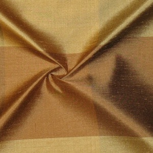 SILK DUPIONI PLAIDS - BRONZE GOLD APPRI.HAZEL [DMP461]