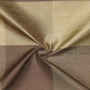 SILK DUPIONI PLAIDS - M.SMOKE BROWN PLUM PEWTEN [DMP462]