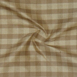 SILK DUPIONI PLAIDS - GINGHAM BEIGE/SABLE [DMP463]