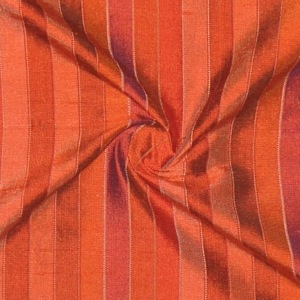 SILK DUPIONI STRIPES - ORANGE BLAST [DMST123]
