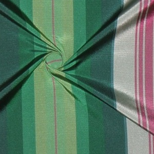SILK TAFFETA STRIPES - OMBRE STRP PINE/SOUV.RED/MINT [TFS426]