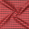 SILK DUPIONI PLAIDS - GINGHAM CHK RED/BLACK  [DMP544]